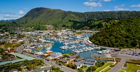 Showing our location across the road from Picton Marina